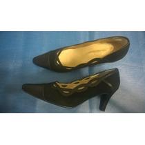 Zapatos De Fiesta Cuero Gamuza N°39-taco Mide 7.5cm.1 Puesta