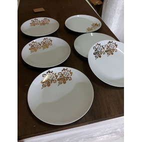 Jogo Prato 8 Fundo Gold Blast Porcelana 27,5x27,5 Cm