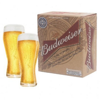 2 Copos Oficiais Budweiser 400 Ml Cerveja + Caixa Original