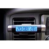 Termômetro E Relógio 2x1 Automotivo -lcd Digital Azul C/clip