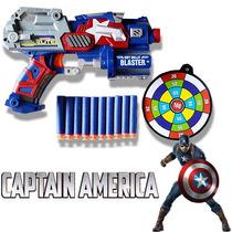 Pistola Arma Capitão América Atira Nerf Vingadores 10 Dardos