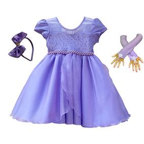 Vestido Infantil Festa Luxo Princesa Sofia Com Tiara E Luvas
