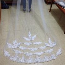 Véu Rendado De Noiva Casamento Com Bordado Pente 3 Metros
