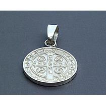 Dije De Cruz Medalla De San Benito En Plata Ley .925