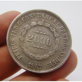 D34 - Réplica 2000 Réis Com Erro Anverso 1867 Reverso 1870