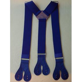 Tirador Pantalón Suspenders Doble Ojal Plata Azul Marino 4cm