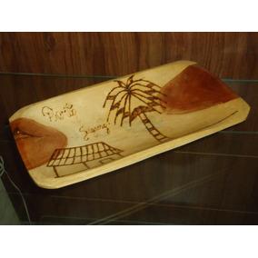 Gamela De Madeira Com Pirografia Da Bahia