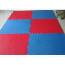 Piso Tatami Coreano Goldmat Armable Rojo/azul 2.5 Cm.