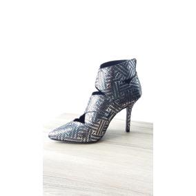 Elegante Zapatillas Plateadas Brillantes De Vestir Con Tacon