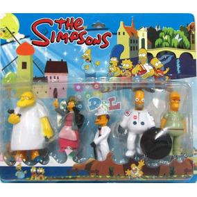 Simpsons Blister X5 Muñecos Ideal Adorno Torta Homero Mirá