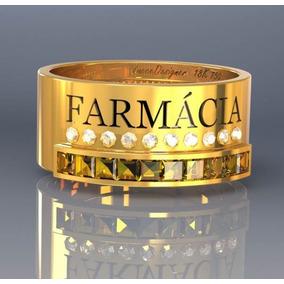 Anel Formatura / Grau Farmácia Prata Banhada De Ouro 18k