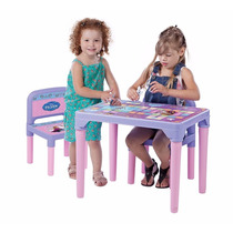 Mesa Mesinha Infantil C/ 2 Cadeiras Frozen Anna Elsa Olaf