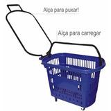 Kit 4 Cestinhas Rodinhas Supermercado Cesta Carrinho Compras
