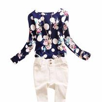 Tsuki Moda Asiatica: Blusa Polka Dots Flores Formal Casual
