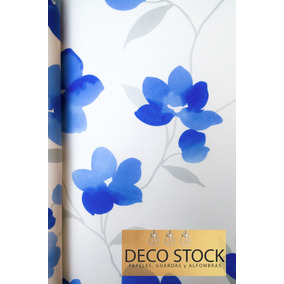 Empapelado Flores Azules F/ Blanco Allegra Muresco 0,52x10m