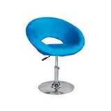 Sillón Butaca Giratoria De Cuero Azul Extra Comodidad!!!