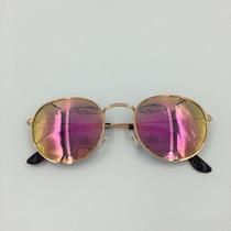 Óculos Round Feminino De Sol Redondo Espelhado Unissex Prata