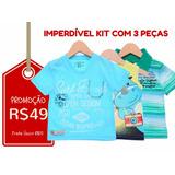 Kit 3 Camisetas Infantis - Tam-3 - Frete Único R$10