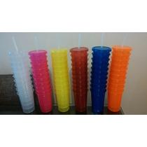 Vaso Neon Con Tapa Y Popote
