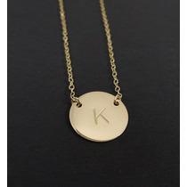 Fino Collar Personalizado Custom Letra Plata Baño Oro 14 Kt