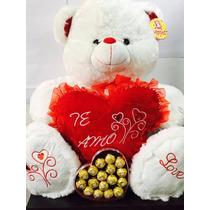 Oso Peluche 65 Cm Gigante + Corazón Te Amo + Ferrero Rocher