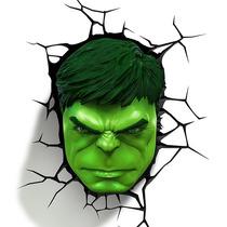 Lampara Para Pared 3d Cabeza De Hulk Marvel Disney