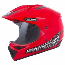 Capacete Motocross Liberty Mx Vision Vermelho 58 C/ Viseira