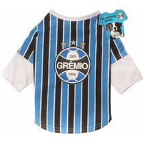 Roupinha Pet Camiseta Grêmio Oficial Licenciada Cães P Ou M