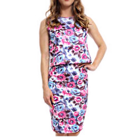 Vestido Fiesta Crop Top Lapiz Multicolor Retro Watercolour