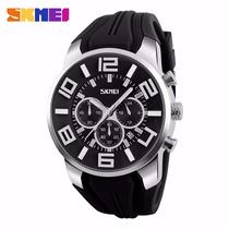 Relógio Masculino Skmei 9128 Importado Analógico Inoxidável