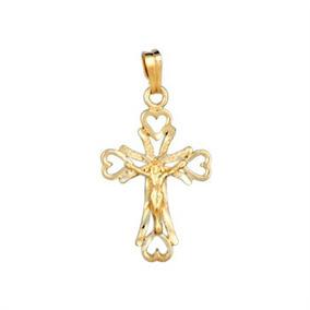 Dije Cruz Cristo Y Cadena De Chapa De Oro 22k