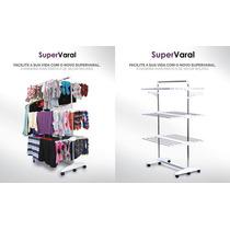 Supervaral - Super Varal De Chão Móvel Em Aço Inox Dobrável