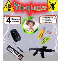 Bromas Toques 4pzas - Pistola, Chicle, Pluma Y Alarma Fiesta