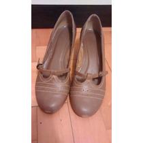 Sapatilha Sapato Boneca Salto Anabela Marrom T:38