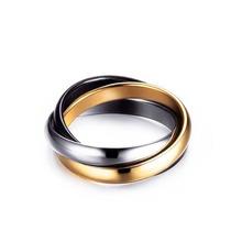 Anéis Entrelaçados Aço Inoxidável Banhada A Ouro 18k