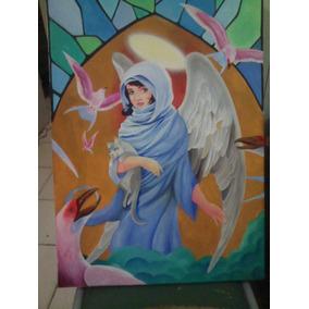 Cuadro Pintado Al Oleo Original Angel, Gato, Decorativo