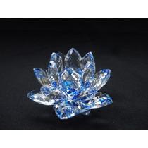 Flor De Lótus De Cristal Azul 9cm