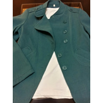 Saco Trench Mujer De Paño Verde Azulado Talle 42. Impecable!