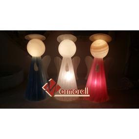 Set De 5 Lamparas Angelito De Onix 30 Cm Blanco, Azul Y Ros