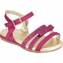 Sandália Para Bebê Menina Pampili Rosa Linda Com Glitter
