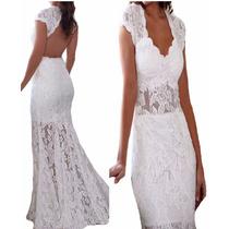 Vestido Noiva Madrinha Festa Casamento Decote Renda Vrl513