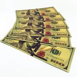 Billete De La Suerte 100 Dolares Fantasia Dorado Oro
