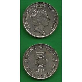 Grr-moneda De Hong Kong 5 Dollars 1986 - Reina Elizabeth I I
