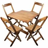 Jogo De Mesas 4 Cadeiras Dobráveis Madeira Natural Bar Casa