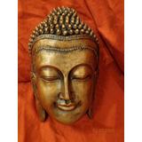 Buda Mascara De Yeso Pintada A Mano Deco Zen 24cm