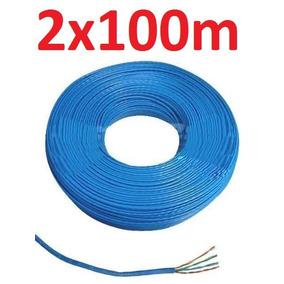 Kit C/ 2 Cabo Rede Cat5e Azul Rolo 100m = 200m Utp Lan Net