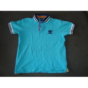 Camiseta Polo - Azul Turquesa - 8 Anos - Frete R$ 6,00