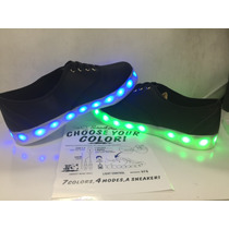 Tenis Luminosos Con Led Negros 7 Colores Rgb Y Efectos Party