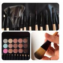Kit Com 24 Pincéis Maquiagem + Paleta 12 Cores + Brinde
