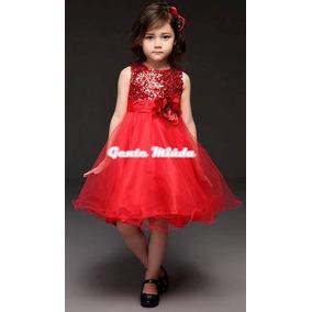 Vestido Festa Anivers. Princesa Vermelho Natal Daminha Dama